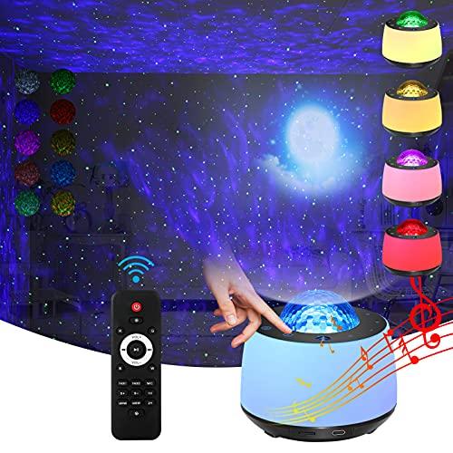Projecteur étoile avec veilleuse Effet lune et nébuleuse/Commande vocale Bluetooth/Onde océanique rotative /Haut-parleur Bluetooth/Télécommande sans fil.Voyant du bouton de l'écran du panneau pour