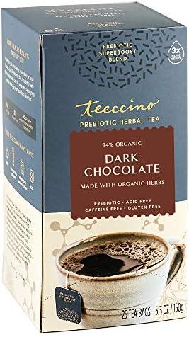 Teeccino Prebiotic SuperBoost Herbal Tea Dark Chocolate Support Your Probiotics with Vegan GOS product image