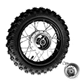 Julymoda 10 Inch 2.5-10 Rear Wheel Tire with 1.4 x 10 Rim and Drum Brake With 12mm Bearing for 50cc Dirt Pit Bike, ATVs, Black