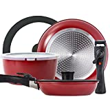 ROCKURWOK Pots and Pans Set Nonstick, Hard Anodized Cookware Set with 2 Removable Handle, Gas, Induction Compatible, Dishwasher Safe, 3-Piece, Deep Red