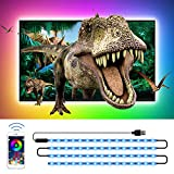 TV LED Backlights, CT CAPETRONIX 13.12ft USB RGB Strip Lights Kit, 5050 LEDs Lighting Music Sync Color Changing with Manual or APP Control for iOS Android for TV/Monitor Sizes 60-75inch