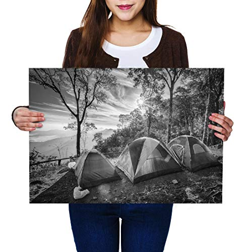 Destination Vinyl Posters A2 BW - Camping Family Tent Camp Site Art Print 59.4 X 42 cm 280gsm satin gloss photo paper #37389