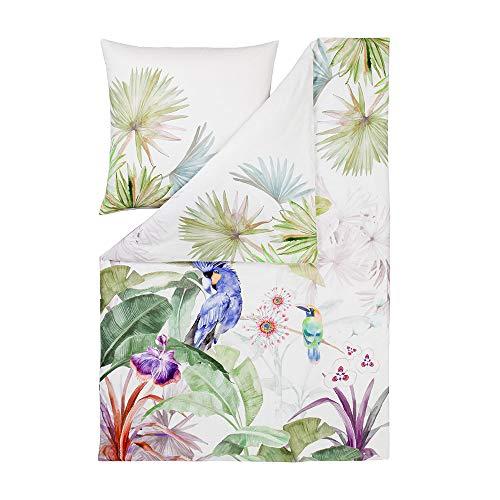 ESTELLA Bettwäsche Jungle | Multicolor | 155x220 + 80x80 cm | Mako-Satin mit seidigem Glanz | trocknerfest | atmungsaktiv und anschmiegsam | 100% Baumwolle