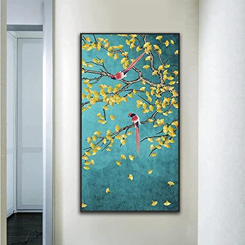 Magnífico cuadro de flores y pájaros, póster de impresión, arte chino, pintura de pared, sala de estar, pasillo de estudio, decoración del hogar, 60x120 cm sin marco