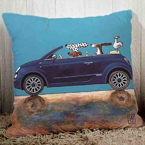 LZBDKM kuddfodral söt charmig karikatyr hundköra bilkudde överdrag mysig polyester sofftvätt-örngott utgång dekorativ kudde 45 x 45 cm