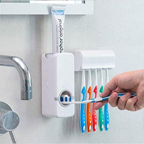 SHOP-STORY - Distributeur Automatique de Dentifrice avec Porte Brosse à Dents et Tête de Brosse à Dents Électrique Brossette