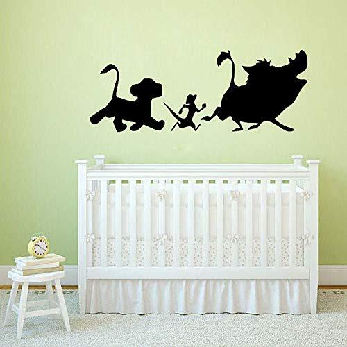 AQjept León Pegatinas de Pared niños niños niñas Dormitorio Sala de Juegos jardín de Infantes decoración de la habitación del bebé calcomanías de Vinilo para pared57x22cm