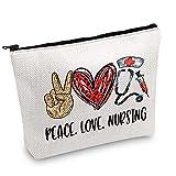 JXGZSO Nursing bag for nurses Nursing Work Cosmetic Bag Peace Love Nursing Makeup Bag Nursing School Gift For Graduation