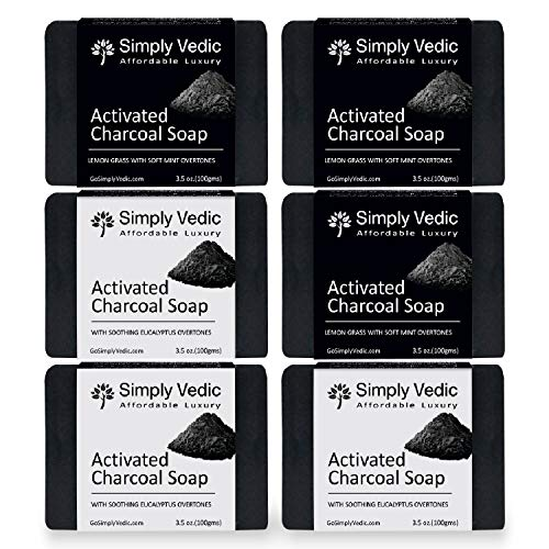 Simply Vedic 6-Pack Activated Charcoal Soap 2-Variants; Lemongrass-Mint (3Pcs) & Eucalyptus Oil (3Pcs) Soap Bar Collection For Body, Hand, Face. Cold Pressed Handmade For Men & Women (3.5 Oz. X 6)