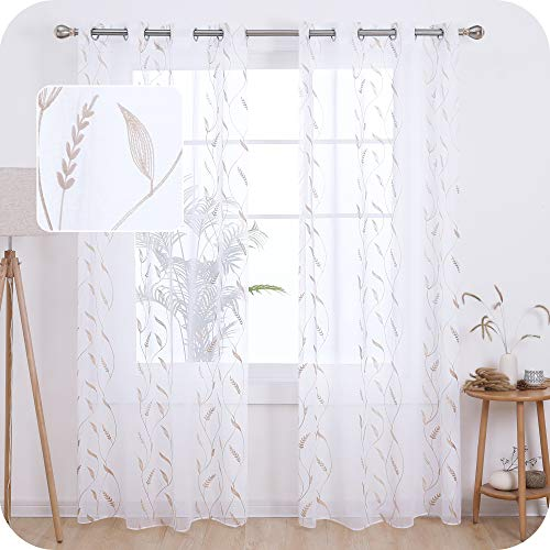 Amazon Brand - Umi Cortinas Translucidas Decorativas con Motivos Espiga de Trigo con Ojales 2 Piezas 140x183cm Lino