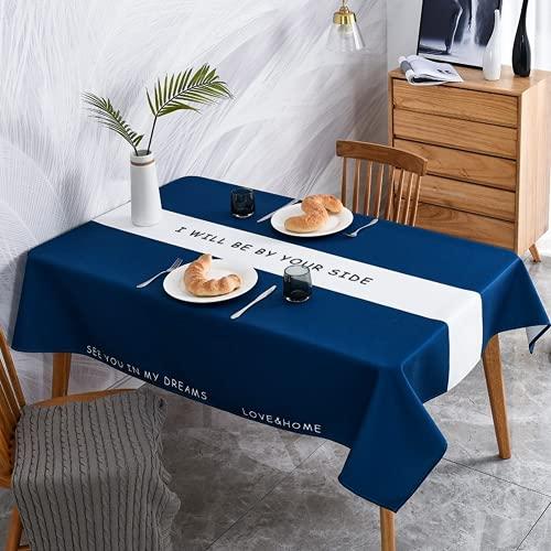 RONGER Mantel De Rayas Nórdicas Mantel Rectangular De Lino De Algodón Mantel Impermeable Mantel A Prueba De Aceite Mantel A Prueba De Polvo (Sapphire,140 * 220cm)