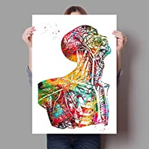 REDWPQ Anatomía Humana Sistema Muscular Lámina Acuarela Figura Humana Pintura Educación médica Oficina Imagen Carteles Lienzo Pintura 30Cmx42Cm A3 Sin Marco