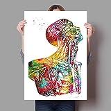 REDWPQ Anatomía Humana Sistema Muscular Lámina Acuarela Figura Humana Pintura Educación médica Ofici...