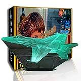 KangYD Avión de combate de luz nocturna 3D, lámpara de ilusión LED, decoración del hogar, G- Control de Telefonía Móvil, Lámpara visual, Regalo de Navidad