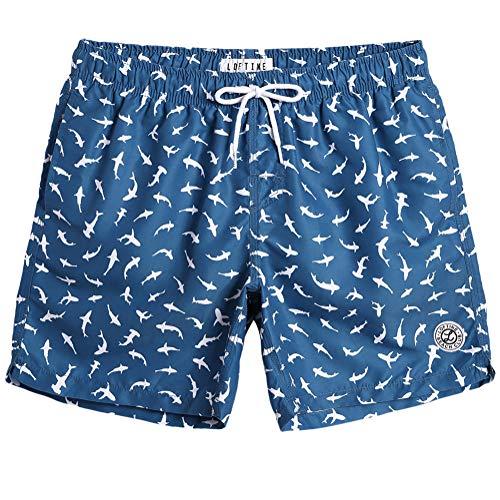 MaaMgic Badehose für Herren Jungen Badeshorts für Männer Schnelltrocknend Surfen Strandhose Surf Shorts mit Mash-Innenfutter MEHRWEG, Dunkelblau Hai, M