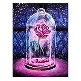 Kit de pintura de diamante 5D, taladro completo de rosa debajo de la cubierta de cristal,...