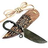 Cuchillo de regalo original Toferner Celtic Mini – Cuchillo forjado a mano – Deportes – Caja de cuero genuino hecha a mano – Hoja pulida y endurecida hermoso producto