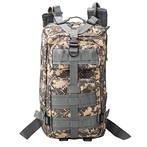 Tactical Army Rucksacks Backpack Fashion Camouflage Style Men Oxford Cloth Backpackage Shoulders Bag 25L Outdoors Hiking Camping Travelling Bag 3P Package with Expanded MOLLE & IND Shoulder Pad & Adju