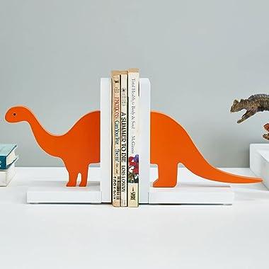 Dinosaur Bookends, Creative Wooden Home Decoration for Kids Cartoon Book Shelf Holder Non-Skid Book Support 2 Pieces