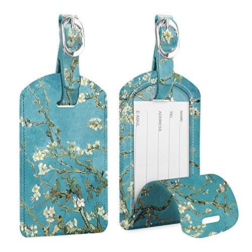 [2 Pezzi] Etichette per Bagagli, Fintie Viaggio bagagli Tag in Pelle con Copertina Posteriore per la Borsa da Viaggio, Blossom
