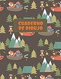 CUADERNO DE DIBUJO: BLOCK DE 100 PAGINAS EN BLANCO. LIBRETA ESPECIAL DIBUJO. FANTÁSTICO REGALO,  CREATIVO Y ORIGINAL PARA NIÑOS Y JÓVENES. LINDO ... BÚHOS, ZORROS Y  MAPACHES EN EL BOSQUE.