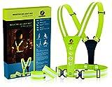 LUMEFIT Warnweste, Reflektorweste, Sicherheitsweste   Reflektierende gelbe Laufwesten mit Armbändern   High-Vis für die Sicherheit von Kindern, Frauen, Männern   Verstellbare Ausrüstung 8 helle LEDs