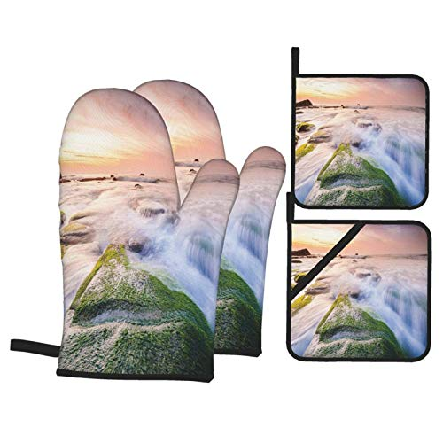 Oven Mitts and Pot Holders Sets of 4,Malaysia Landmark Nature Wonders Photo Of Fountains Stream Mossy Rocks With Ombre Sky,Polyester BBQ Gloves with Quilted Liner Resistant Hot Pads for Kitchen