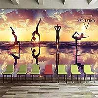 Iusasdz サンセットサンセットヨガフィットネスクラブツーリングの背景壁の装飾壁400X280Cm