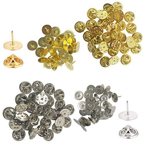YuCool 60 Stück Schmetterlings-Kupplung mit blanko Stecknadeln, Stecknadeln, Ersatz für Bastelarbeiten und Schmuckherstellung, Silber-Gold