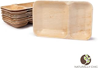 "Naturally Chic Compostable Biodegradable Disposable Plates - Palm Leaf 9 x 6"" Rectangle, Compartment Plate Dinnerware Set - Eco Friendly Alternative - Party, Wedding, Event Plates (25 Pack)"