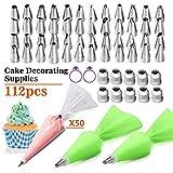 Kit de suministros para decoración de pasteles de 112 piezas con bolsas de tubería y boquilla de acero inoxidable para glaseado, juego de puntas y acoplador para pasteles, magdalenas, galletas, pastel