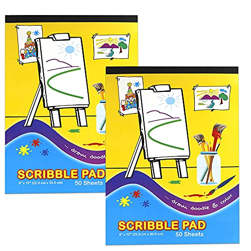 Emraw Scribble Pad Doodle Pad Perfect for Kids Toddler Children to Scribble, Draw and Color - 50 Per Pack - 9' X 12' (Pack of 2)