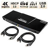 TESmart 4 Ports HDMI KVM Switch 4K@60Hz 4:4:4 Ultra HD 4 PCs 1 Monitor mit zusätzlichem USB 2.0 Port&L/R Audio-Ausgang Steuert bis zu 4 PCs/Server/DVR Enthält 2 Stück 1,5 m KVM-Kabel-Mattschwarz