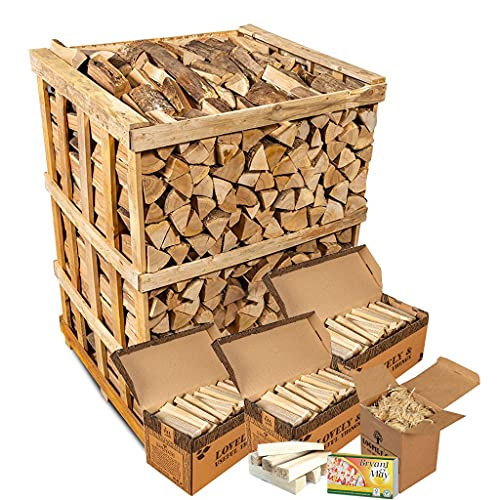 Logpile Kiln Dried Hardwood Firewood Logs and Kindling Starter Kit. 800Kg. Suitable for All Stoves, Fireplaces and Fires. Ready to Burn Accredited and Sustainably Sourced.