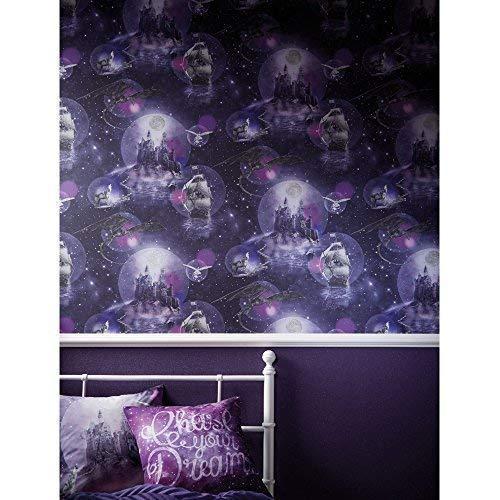 Arthouse Magisch Kingdom Fantasie Muster Kinder Tapete Wolf Drachen Glitzer - Lila 696101