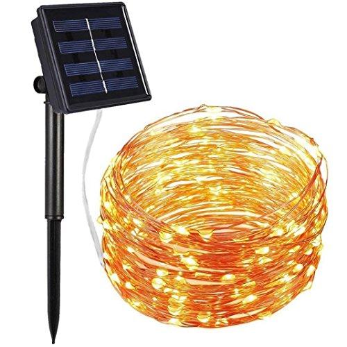 TAOtTAO 2 m 20led Fil de cuivre de d'extérieur à énergie Solaire Lumière Guirlande Lumineuse fête Décor, Jaune