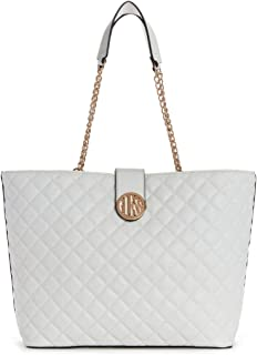 Guess Factory Women's Plush Quilted Carryall Tote - White