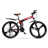 Grimk Mountain Bike Plegable Btt Bicicleta De Montaña Unisex Adultos Rueda De 26 Pulgadas Bici Mujer Folding City Bike Velocidad única,Sillin Confort Ajustables,Capacidad 120kg,Red,21speed
