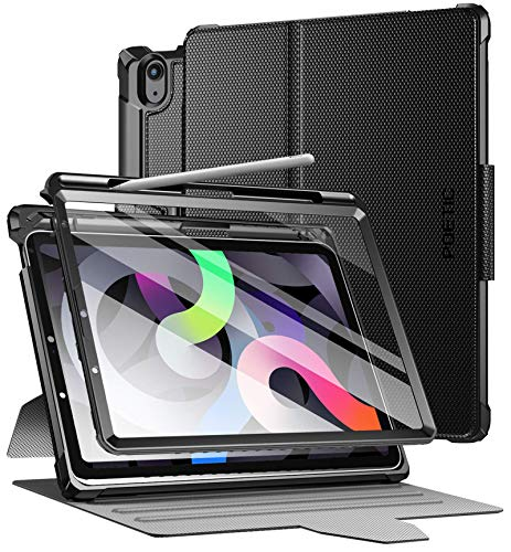 POETIC Explorer Case for iPad Air 4 2020 10.9 inch, Full Body Triple Layers Tough 360 Degree Stand Folio Cover with Pencil Holder, Built-in Screen Protector for iPad Air 4th Generation, Black