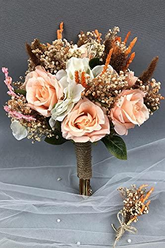 Hayalperest Lachs und weiß getrocknete Blume Brautstrauß und Kragen Blumenbraut, Hochzeit, Brautblume, Hand Blume, Zeremonie, Blume