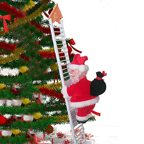 Qiaogeli Christmas Climbing Ladder with 1 Santa Claus - Electric Climbing Plush Doll Toy for Hanging Ornament Christmas Tree Indoor Outdoor Pendant (Red)