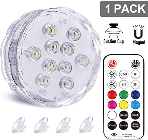 Qoolife RGBW Underwater LED Lights with Magnet, RF Remote and Suction Cups - 3.3' AA Battery...