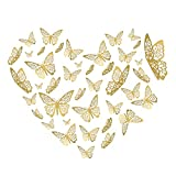 Butterfly Wall Decor Sticker Wall Decal, 48 Pcs Gold 3D Art Removable Mural Decoration DIY Flying Decor for Kids Bedroom Home Party Nursery Classroom Offices Décor (6)