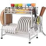 XJJZS Colapiatti - Piatto Stendino, Colapiatti con Il Supporto utensile, Supporto di Tazza e scolapiatti for la Cucina (Size : 45 * 28 * 43.5cm)