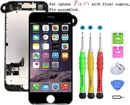 Screen Replacement Compatible with iPhone 7 4.7 inch Full Assembly - LCD 3D Touch Display Digitizer with Sensors and Front Camera, Fit Compatible with iPhone 7 4.7 inch (Black)