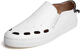 Sneakers For Men Stylish Slip On Casual Loafer Classic Perforated Skate Shoes Low-Top Flat Walking Shoes Breathable Leather Lightweight` Tussy (Color : White, Size : 40 EU)