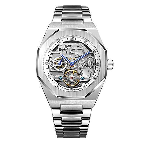 Tourbillon Design - Reloj de pulsera analógico automático de acero inoxidable para hombre, Plateado y blanco., Pulsera