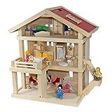 Villa Freda Puppenhaus + Puppenfamilie + Hussen + Puppenhausmöbel 26teilig + Babywiege aus Holz 3...
