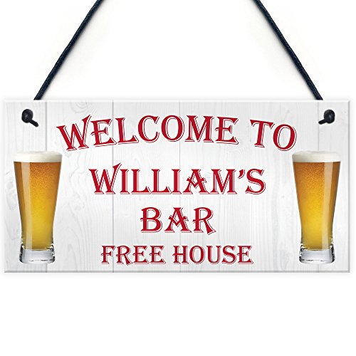 RED OCEAN Personalised Pub Bar Man Cave Hanging Sign Garden Shed BBQ Home Brewery Gift