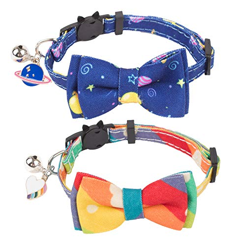 Cat Collar Breakaway with Cute Bow Tie Bell - 2 Pack Kitten Collar with Removable Bowtie Universe...